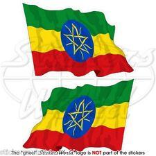 ÄTHIOPIEN Wehende Flagge ÄTHIOPISCHE Afrika Fahne Sticker, Aufkleber 75mm x2