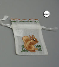 Twenty 20 Red Squirrel Embroidered Gift Drawstring Bags Zq31
