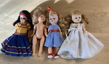 4 Cute Unmarked Hard Plastic Ginny Type Dolls- 1 Native American-2 Are Walkers