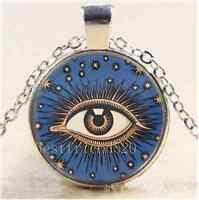 Celestial Eye Stars Moon Cabochon Glass Tibet Silver Chain Pendant Necklace