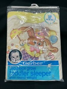New Vintage Gerber Baby Easter Two Piece Grow Toddler Sleeper Size 4T 4 toddler