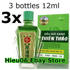 3 bottles 12ml Thien Thao Medicated Oil - Dau Gio Xanh - Cold Flu Cough Headache