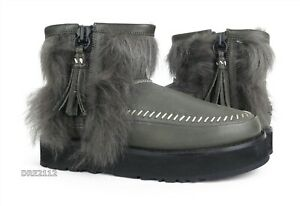 UGG Fluff Punk Boot Black Suede Leather Fur Boots Womens Size 7 *NIB*