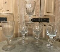 Lot de 5 Verres Soufflé Ancien XIXeme Antique French Glass Coupe