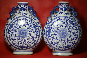 1pair Rare Antique fine Chinese beautiful Blue and white Porcelain flat Vase