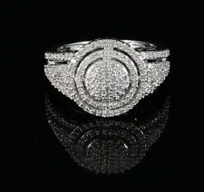 10K White Gold Finish with Real Diamond 0.50ct Ladies Silver Ring Size 7