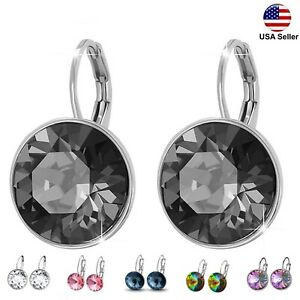 Crystal Leverback Earrings Round Made With Swarovski Crystals Valentines Gift