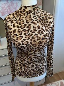 Ladies Leopard Print Top By Cherry Koko Size Medium