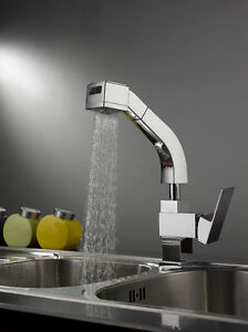New Pull Out Kitchen Faucet Spray Vessel Sink Mixer Tap Chrome 8 Years Warranty
