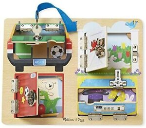 Melissa & Doug Lock and Latch Board Wooden Toy Play Set