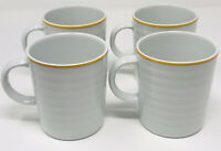 Crate and Barrel White Yellow Ribbed Coffee Mugs Cups PORTUGAL Set of 4