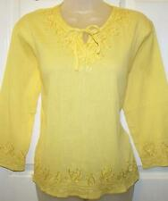 YELLOW EMBROIDERED COTTON TUNIC HIPPIE FESTIVAL KAFTAN TOP FREE SIZE  # H303