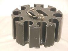 VINTAGE - POKER KARTEN + CHIPS TISCHBOX - DREHBAR - LEDER - d = 23 cm DREHTELLER