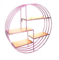 Round Metal Pink & Gold Wall Shelf Display Storage Organizer Kitchen,Bath Rack