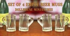 SET of 4 BEER MUGS SET GLASSES 1/12 SCALE 4 Dollhouse Miniature or FAIRY GARDEN