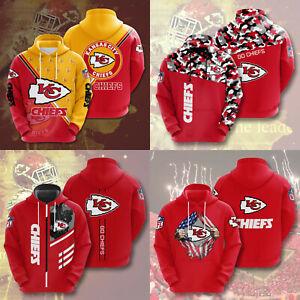 Kansas City Chiefs Football Hoodies Men Sweatshirt Pullover Casual Hooded Jacket
