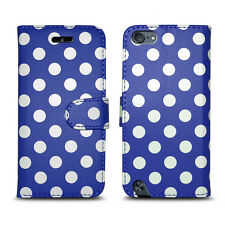 Designs Leather Wallet Book Opening Case Cover Pouch for Apple iPhone 4 & 4s Polka Dot Royal Blue - Spots Print Circle Design