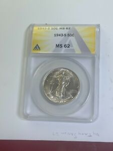 1943 S 50c Fifty Cents SILVER  ANACS MS62