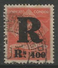 STAMPS-BRAZIL-CONDOR. 1927. 400r on 10,000r Registration Stamp. Michel: 9. Used