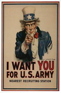 I Want You For US Army, Uncle Sam, Top Hat, Military Ad 1917 --- Modern Postcard