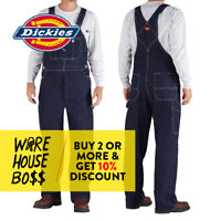 DICKIES # 83294NB MENS BIB OVERALLS DENIM INDIGO RINSE BLUE 100% COTTON UNIFORM