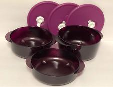 Tupperware Vent N Serve Microwave 3 pc Bowls Set Rounds Purple Rhubarb Rare New