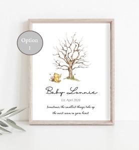 Baby Shower Fingerprint Tree Guest book Gift Keepsake Winnie & 2 Stamps