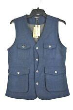 Jeremiah Porter Herringbone 100% Wool Vest Mens Navy Sleeveless V-Neck Small
