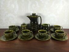 More details for rare retro lord nelson pottery coffee set celtic green 6 x cups jug & sugar bowl