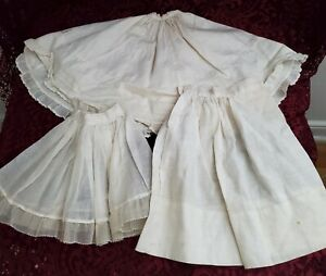 Antique/Vintage Set Of 3 Very Nice Antique Doll Half-slips White