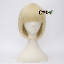 35CM Light Blonde Short Bob Basic Style Women Girls Cosplay Wig With Bangs