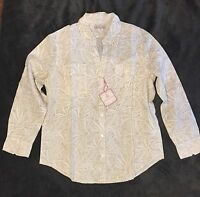 NWT Women's Jamaica Jaxx WHITE & TAN Floral Linen Blend Shirt - Large