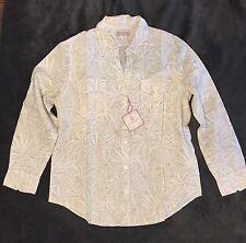 NWT Women's Jamaica Jaxx WHITE & TAN Floral Linen Blend Shirt - XL