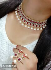 Delicate Bollywood Indian CZ AD Ruby Wedding Gold Jewelry Necklace Earrings Set