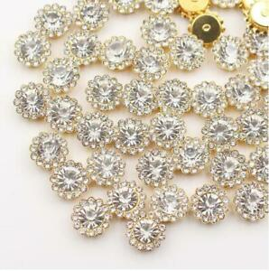 50pc White Alloy Rhinestones Flowers Buttons for Crafts Sewing Decorations 10 mm
