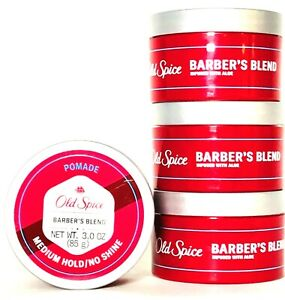 4 Count Old Spice 3 Oz Barber's Blend With Aloe Medium Hold No Shine Pomade