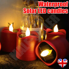 Solar Powered LED Candles Flameless Electronic Waterproof Tea Lights Lamp UK