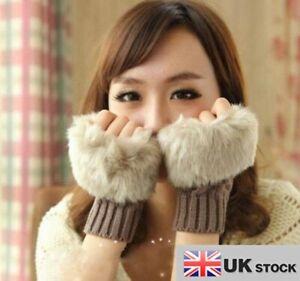 Girls Ladies Faux Fur & Knitted Fingerless Gloves Mitten GLVS-S-01