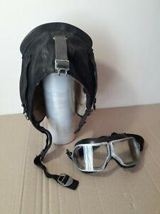 Soviet Leather Helmet and pilot's glasses. USSR  Aviation .