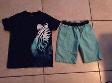 Boys Crazy 8 by Gymboree size 7/8 t shirt blue and aqua shorts size 7