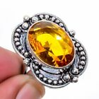 Aaa+++ Citrine Gemstone 925 Sterling Silver Jewelry Ring s.7 T868