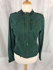 Women's BCB Generation Distressed Green Denim Military Short Jacket L
