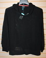 COOL NEW WOMENS PLUS SIZE 3X BLACK NETTED MESH ACTIVE/BEACH PULL OVER ON HOODIE