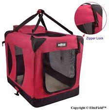 """3-Door Folding Soft Dog Crate, Indoor & Outdoor Pet Home  24""""L x 18""""W x 21""""H,RED"""