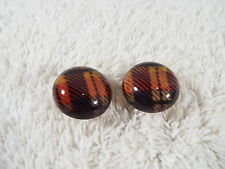 Black Red Acrylic Tartan Plaid Bubble Button Pierced Earrings (D65)