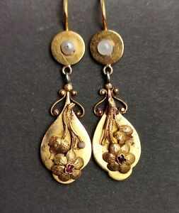 Antique Georgian 18ct gold drop earrings, Ruby and pearl, floral
