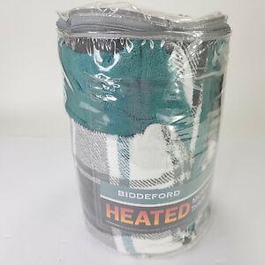 "Biddeford MicroPlush Electric Heated Plaid Throw Blanket 62"" x 50"" Black & Green"