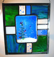 Stained Glass Window Panel snow tree cardinals bunny blue red white