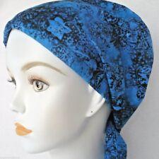 English Traditions Chemo Cancer Scarf Alopecia Turban Blue Head Cover Hairwrap