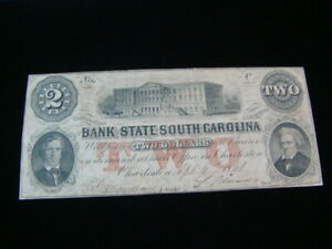 1861 Bank Of The State Of South Carolina $2.00 Banknote VF 20703